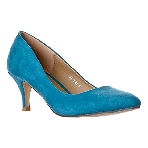 Riverberry Women's Katy Pointed Closed Toe Kitten Low Heel Pumps, Turquoise Suede, 9 - Blue Suede Pump Shoes