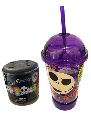 Jack's Light Up Cup Nightmare Before Christmas Jack Skellington Master of Fright Light Up Tumbler Cup with lid and straw Purple + Bonus Mini Squishy NBC Character Figure