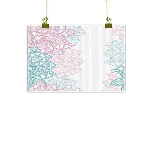 - SEMZUXCVO 3D Printing Oil Painting Floral Large Flower Petal in Pastel Tone Elegance Spring Beauty Embellished Design Canvas Prints for Home Decorations W35 x L31 Sky Blue Light Pink