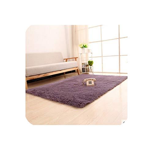 Super Soft Long Plush Silky Mat Carpet Solid Door Area Rug Bedroom Living Room Window Bedside,Grayish Purple,800Mm X 1600Mm ()