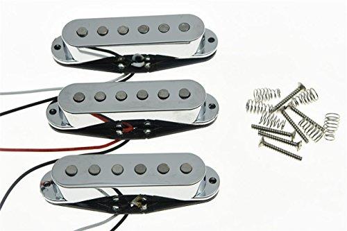 Alnico Single Coil Pickups (KAISH Set of 3 Chrome Flat Pole Alnico 5 Single Coil Pickups High Output Sound Strat SSS Pickup)