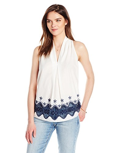 Ella Moon Women's Delani Sleeveless V-Neck Open Border Blouse, Off White/Dark Navy, (Border Sleeveless)