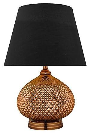 Lámpara de mesa metal efecto cobre pantalla telas negro ...