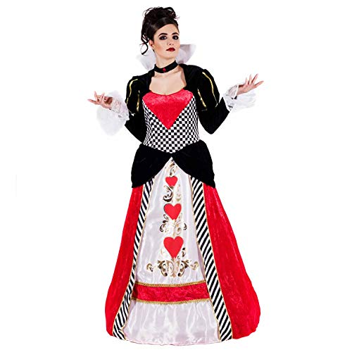 fun shack Womens Queen of Hearts Costume Long Gown Wonderland Dress - Large