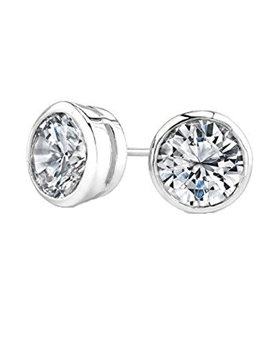 Round Cut CZ Bezel Sterling Silver Basket Set Stud Earrings - Bezel Earrings Round