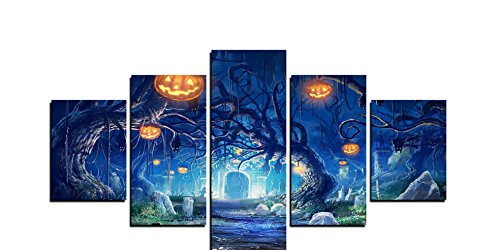 5 Panels Modern Painting on Canvas Wall Art Decor Home and Decoration Pumpkin Lantern