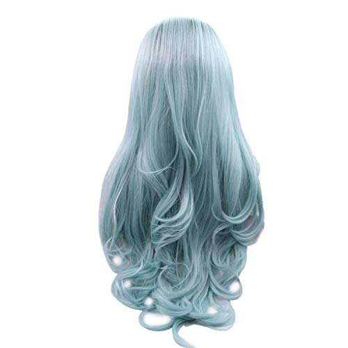 NOGOQU Long Loose Wavy Wig Dark Root Ombre Parted Wig Daily Use Halloween Cosplay Costume Party (Black Ombre Water Blue) ()