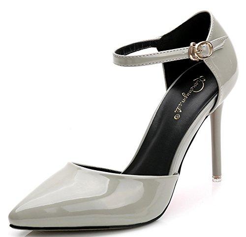 Aisun Women's Sexy Elegant D'orsay Pointed Toe Ankle Strap Stiletto Super High Heel Sandals Grey