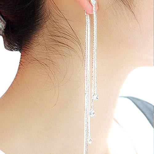 Gbell Clearance! Women Party Cocktail Linear Long Tassels Dangle Earrings Jewelry Charm - Fine Drop Shiny Diamond Fringe Earrings for Girls Lady Party Date Ball Wearing (Silver)