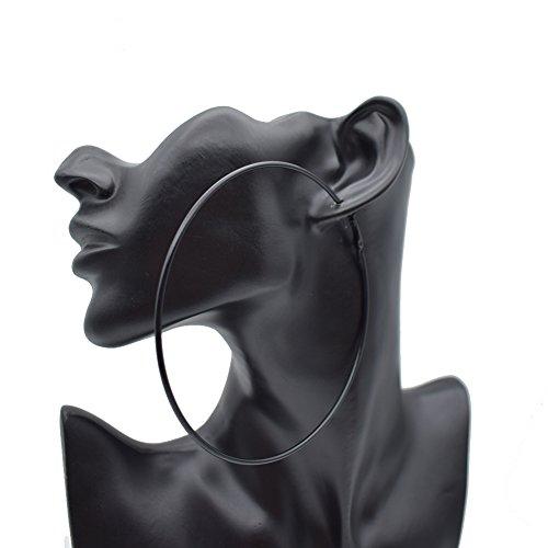Black Mens Endless Thin Wire Extra Large Hoop Earrings for Women-Big Hoop Earrings