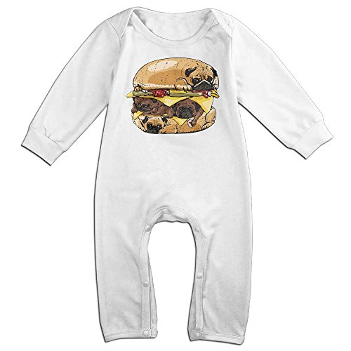 [Infant Baby's Pugs Burger Long Sleeve Climb Clothes 6 M White] (Dalmatian Pajama Infant Costumes)