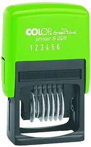 Colop S226 Green Line - Sello numerador (tinta integrada, 6 franjas, 22 x 4 mm), color negro