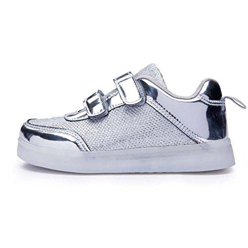 Luminosi Accendono Scarpe Unisex Luci Le DoGeek Scarpe Adulto Argento LED con Sportive Sneakers AH4xI