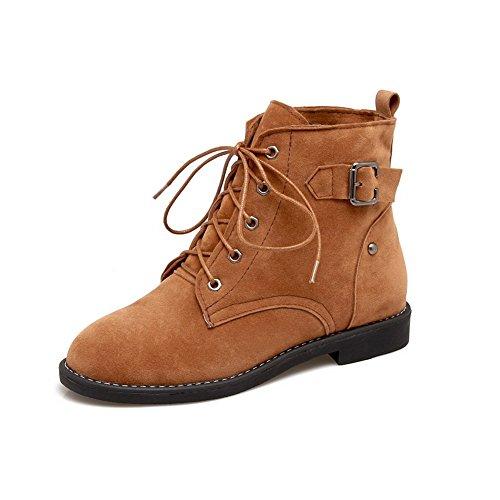 Womens ABL10600 No Boots Suede Buckle Heel Bandage Yellow BalaMasa wHdzS0qH
