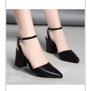 pwne Tacones mujer Primavera Club Calzado casual de cuero pu Chunky talón negro blanco Negro US8 / UE39 / UK6 / CN39