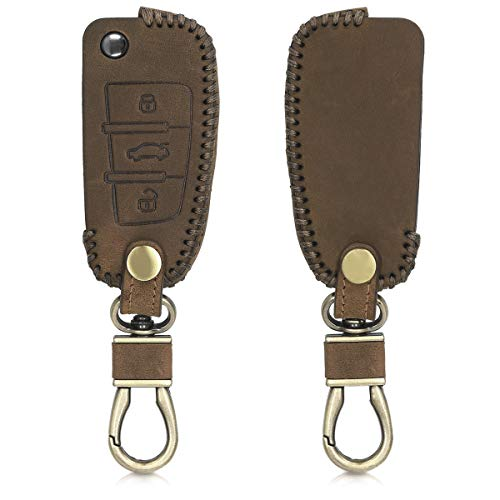 kwmobile Car Key Cover for Audi - Heavy Duty Genuine Leather Protective Key Fob Cover for Audi 3 Button Flip Key - Brown