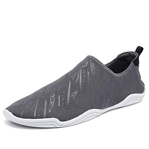 CIOR Männer Frauen Barfuß Quick-Dry Wasser Sport Aqua Schuhe mit 14 Drainage Löcher für Schwimmen, Walking, Yoga, See, Strand, Garten, Park, Fahren D. Grey