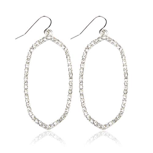 RIAH FASHION Sparkly Rhinestone Simple Lightweight Geometric Open Hoop Drop Earrings - Cubic Zirconia Crystal Polygon Cut-Out Dangles Kite Rhombus, Oval Hexagon (Oval - Silver) ()