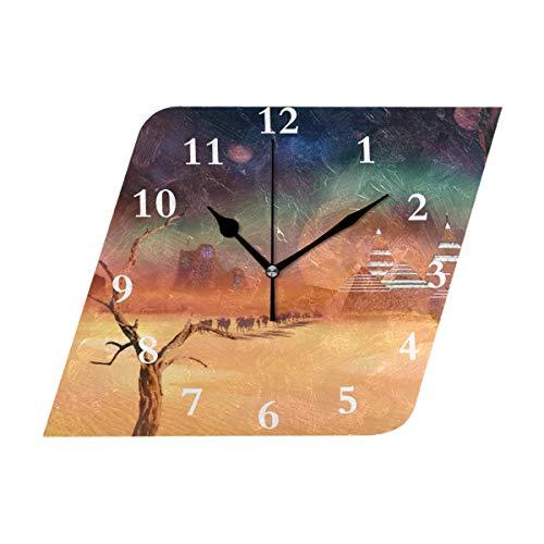 Diamond Outdoor Clock - HangWang Wall Clock Space Desert Silent Non Ticking Decorative Diamond Digital Clocks Indoor Outdoor Kitchen Bedroom Living Room
