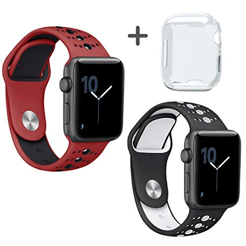 Bands for Apple Watch 44mm Series 4 Plus Premium Full Cover HD Clear TPU Case for iWatch Series 4 2019 Design 3 in 1 Bundle 44mm 1 Red/Black + 1 Black/White Sports Straps by iV Industry