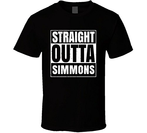Simmons Ma University College Straight Outta School Cool T Shirt L Black