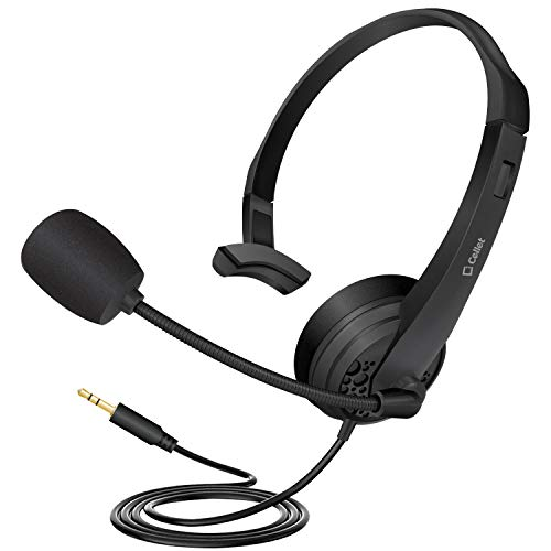 Cellet Over The Head Mono 3.5mm Hands-Free Headset with Flexible Boom Microphone - 6ft Long Wire - Compatible for iPhone, Galaxy S9/S9 Plus, PC, LG, Huawei, HTC, LG, ZTE, Berry and Many More
