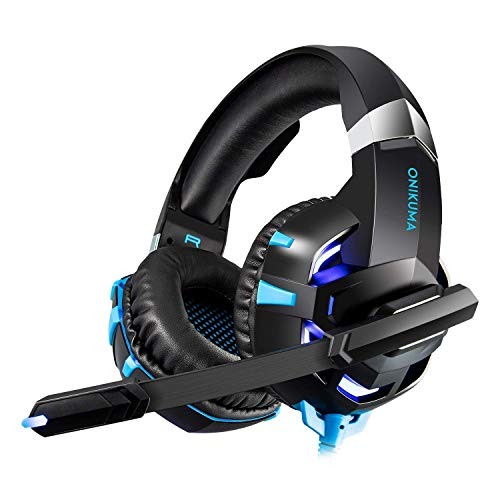 (Xbox One Headset,PS4 Headset with Mic,Stereo PC Gaming Headset, Over-Ear Wired Gaming Chat Headphones with LED Light Noise-Canceling Microphone,Comfortable Mute & Volume)