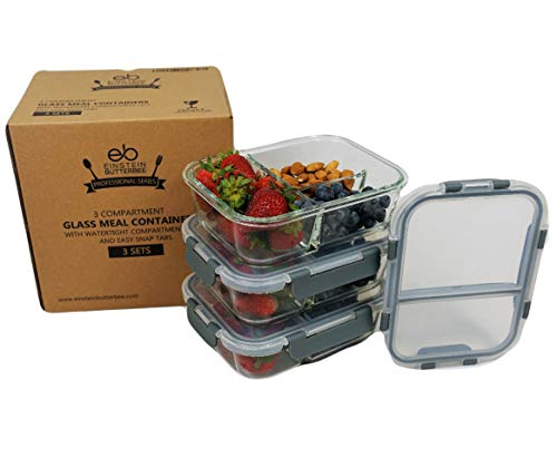 [3-Pack - New 2019 Design] 3 Compartment Bento Boxes Glass Food Container with Maria Emmerich Keto Diet Cookbook Sample - Leak Proof Meal Prep and Portion Control
