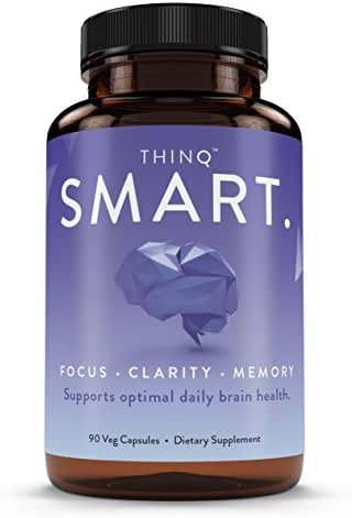 Nootropic Dietary Supplement - THINQ Smart - Support Natural Brain Function - Boost Memory, Focus & Cognition with DMAE, Huperzine A, Rhodiola Rosea Extract, Alpha GPC, Bacopa, Ginkgo Biloba & More,
