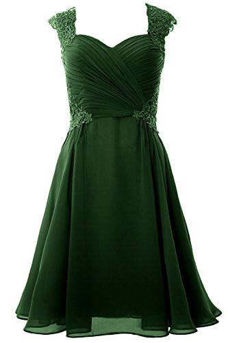 MACloth Women Cap Sleeve Cocktail Dress 2017 Short Wedding Party Formal Gown Verde Oscuro