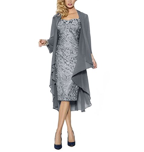 WHZZ Womens Tea Length Mother of The Bride Dress with Jacket Two Piece Evening Dresses Steel - Two The Of Dresses Mother Bride Piece