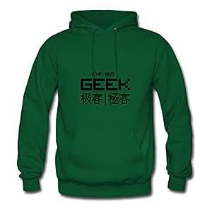I've Got Geek Green O-neck Designed Chic Hoody X-large Women