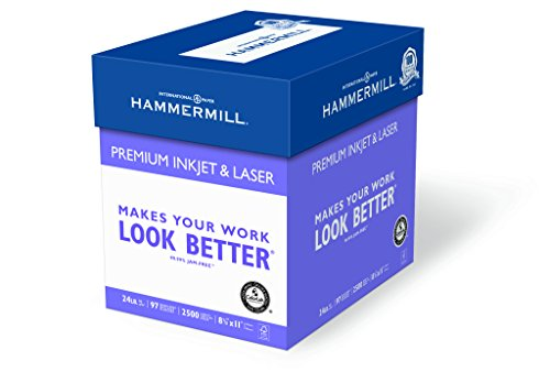 Hammermill Paper, Premium Ink & Laser Poly Wrap, 24lb, 8.5x11, Letter, 97 Bright 2500 Sheets / 5 Ream Case (166140C) Made In The USA Premium Bright White Inkjet Paper