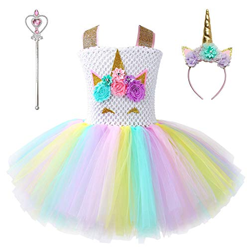Girl Unicorn Costume Flower Dresses Princess Party Pageant Dresses with -