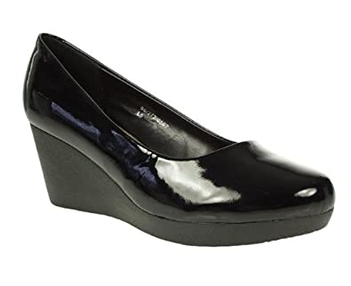 Natures Own Womens Ladies Black Patent Wedge Court Shoes Size 8   Amazon.co.uk  Shoes   Bags 1efe226b642