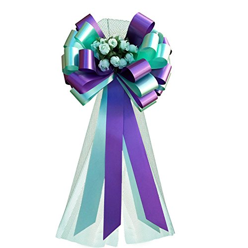 Florist Purple Rose (Purple and Mint Wedding Pull Bows with Tulle Tails and Rosebuds - 8