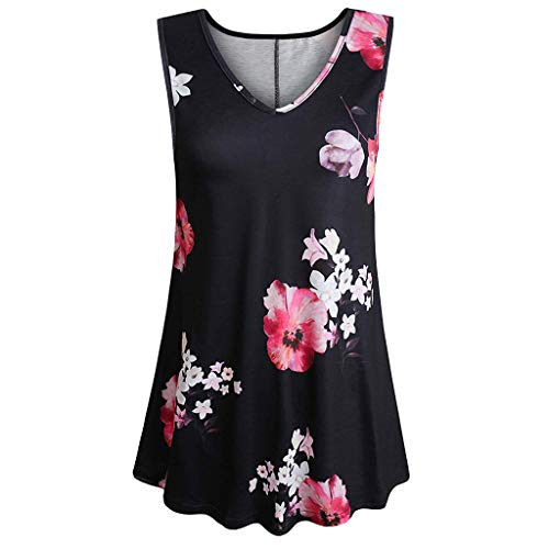 Sumen Women Summer Tank Tops Retro Printed Tunic Sleeveless V Neck T Shirts Pleats Blouse Black