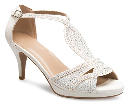 OLIVIA K Women's Sexy Strappy Glitter Rhinestone Open Toe Heel Sandals - Adjustable Buckle (Long Twist Strap Dress)