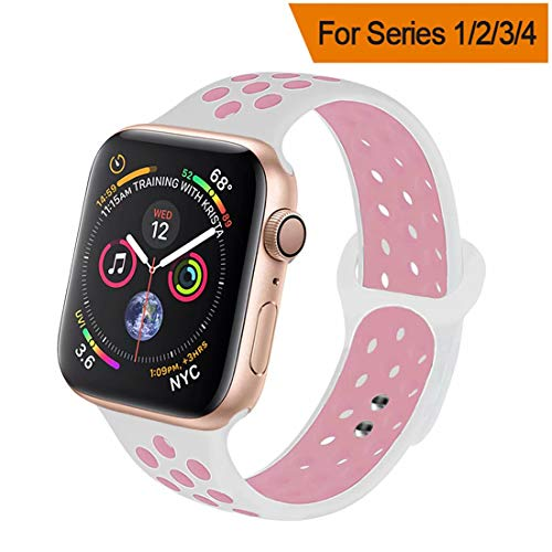 HILIMNY Compatible for Apple Watch Band 42MM/44MM, Soft Silicone Sports Replacement Compatible for iWatch Band Apple Watch Series 4/3 / 2/1, S/M, White Pink