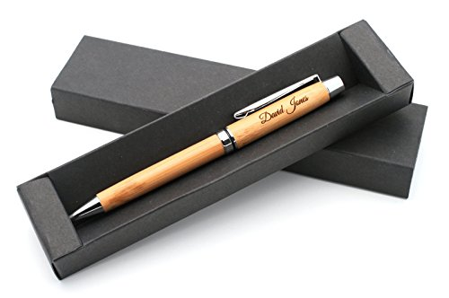 Personalized Bamboo Wooden Pen + Gift Box | Custom Bespoke Laser (Personalized Items)