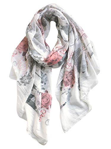 GERINLY Soft Women Scarves Famous Building Printed Wrap Scarf for Spring Travel (White)