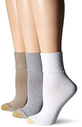 Gold Toe Women's Ultra Soft Providence Turn Cuff 3 Pack, Cinder/White/Khaki, 6-9
