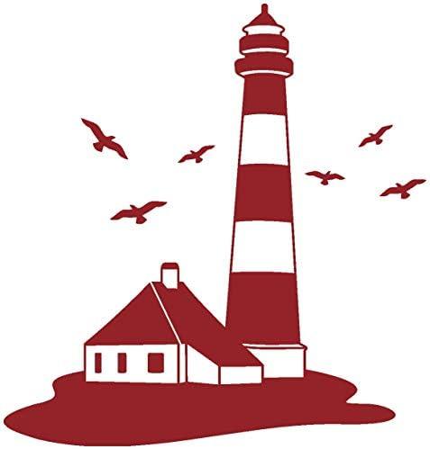 Samunshi Leuchtturm Wandtattoo Leuchtturm Wandaufkleber In 9 Größen Und 19 Farben 19x20cm Dunkelrot Küche Haushalt