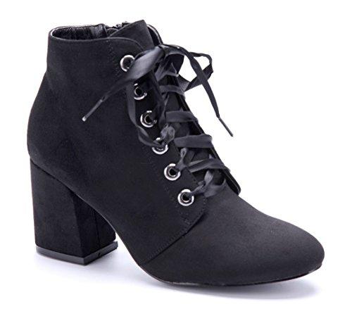 Schuhtempel24 Damen Schuhe Klassische Stiefeletten Stiefel Boots Blockabsatz 8 cm Schwarz