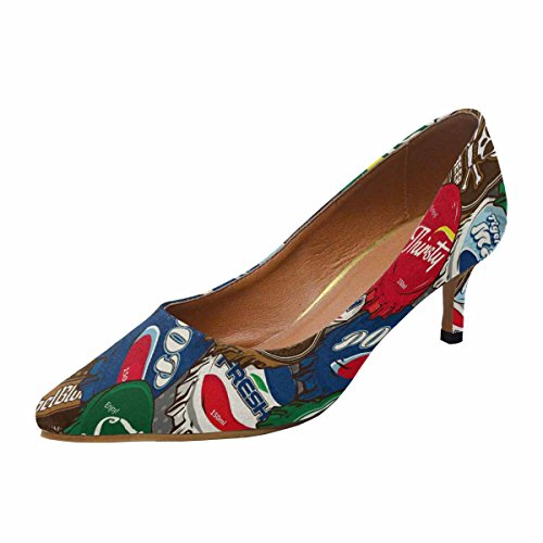 InterestPrint Women's Low Kitten Heel Pointed Toe Dress Pump Shoes Classic Bottle Caps Background 11 B(M) US