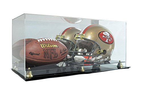 Deluxe Acrylic Full Size Football Helmet and Football Display Case by SAFTGARD SUPPLIES