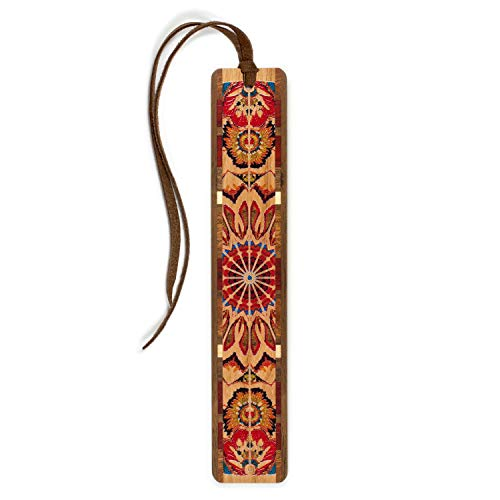 Mitercraft Handmade Wooden Bookmark - Kaleidoscope Design on Cherry with Brown Suede Tassel - Search B079J6MLKM to See Personalized Version.