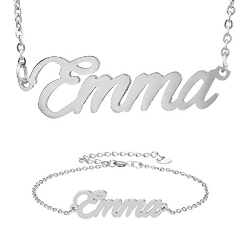 HUAN XUN Best Bridesmaid Gifts Emma Name Necklace&Bracelet Initial Jewelry - Personalised Bracelet Name
