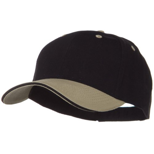 Otto Caps 2 Tone Brushed Twill Sandwich Cap - Khaki Black OSFM