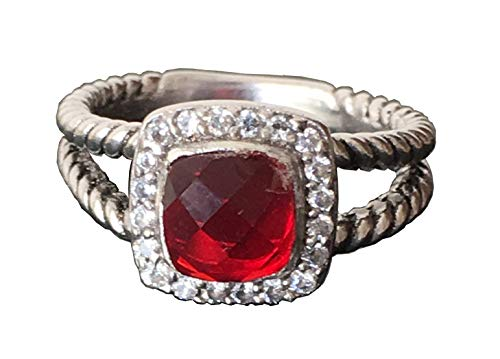 Gempara Designer Inspired 7mm Cushion Cable Twisted Garnet Petite Albion Ring (7)